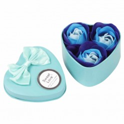 Розы из мыла 3 шт в подарочной коробке сердце оптом