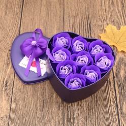 Розы из мыла 9 шт в подарочной коробке сердце оптом