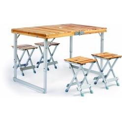 Раскладной деревянный стол и четыре стула для пикника оптом