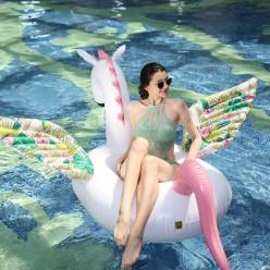 Надувной плот единорог с цветными крыльями 200*110*85 см оптом