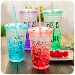 Ледяной стакан для напитков с трубочкой и крышкой оптом