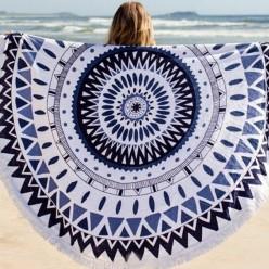 Пляжное полотенце покрывало белое с синим узором оптом
