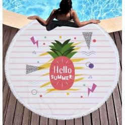 Пляжное полотенце покрывало Ананас Hello summer оптом