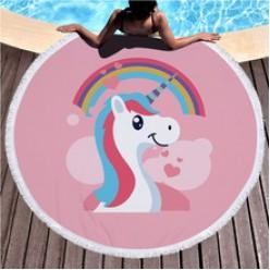 Пляжное полотенце покрывало Единорог с радугой оптом
