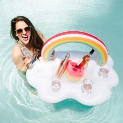 Надувной поднос с подстаканниками в виде облака с радугой 90х60см оптом