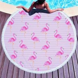 Пляжное покрывало розовый фламинго оптом