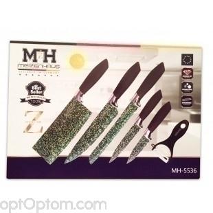 Набор из 6 ножей Meizenhaus MH-5536 из малахита оптом