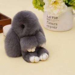 Брелок зайчик (кролик) серый с ресничками из кроличьего меха