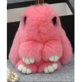 Брелок зайчик (кролик) розовый с ресничками из кроличьего меха