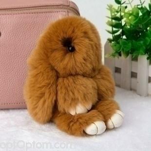Брелок зайчик (кролик) коричневый с ресничками из кроличьего меха