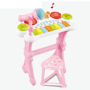 Детский электроорган Funny Musical на батарейках со светом mp3 USB микрофон 8 клавиш табурет оптом