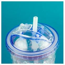 Охлаждающий стакан с крышкой и выдвижной трубочкой оптом