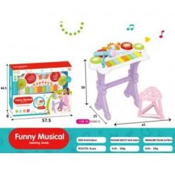 Электроорган Funny Musical на батарейках со светом mp3 USB микрофон 8 клавиш табурет оптом