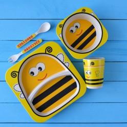 Комплект детской посуды из бамбука Пчелка оптом