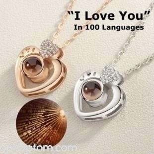 Кулон i love you на 100 языках сердечко оптом