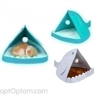 Домик Акула для кошек и собак войлок оптом