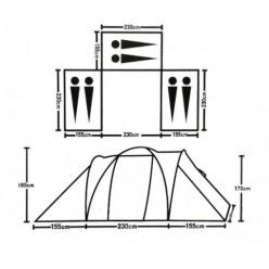 Палатка 6-местная 3-х комнатная с тамбуром и навесом 1699-3 оптом