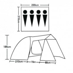 Палатка 4-местная с навесом 1704 оптом
