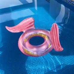 Надувной круг с крыльями розовый 110х130см оптом