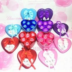 Розы из мыла 6 шт в подарочной коробке сердце оптом