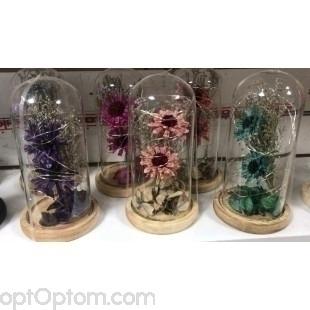 Вечный букет цветов в колбе с подсветкой оптом