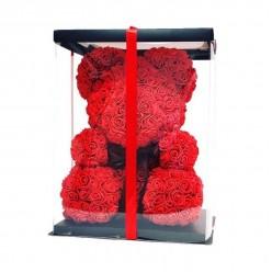 Мишка из 3D роз 25 см в подарочной упаковке оптом