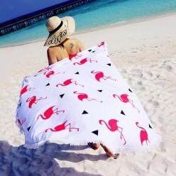 Пляжное полотенце покрывало Розовые фламинго на белом фоне оптом