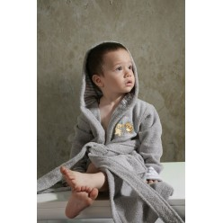 Халат детский махровый с капюшоном TEENY (Серый)