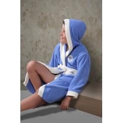 Халат детский махровый с капюшоном SILVER (Голубой)