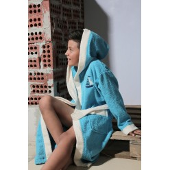 Халат детский махровый с капюшоном SILVER (бирюзовый)
