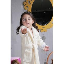 Халат детский махровый с капюшоном TEENY (Кремовый)