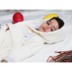 Халат детский махровый с капюшоном TEENY (Екрю)