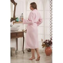 Халат вафельный с кантым ALERON (Розовый)