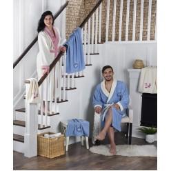 """Набор халат махровый контрастный семейный """"ADRA"""" с полотенцем"""