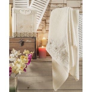 "Полотенце махровое в коробке ""IRYA"" c вышивкой ROMANTIC (85x150) см 1/1 оптом"