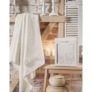 "Полотенце махровое в коробке ""IRYA"" c вышивкой LOVELY (85x150) см 1/1 Mолочный"