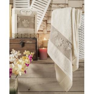 """Полотенце махровое в коробке """"IRYA"""" c вышивкой DESIRE (85x150) см 1/1 Бежeвый"""