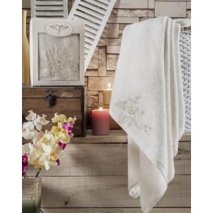 """Полотенце махровое в коробке """"IRYA"""" c вышивкой SHOW (85x150) см 1/1 Mолочный"""