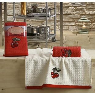 Кухонные полотенца махровые LEMON 45x65 1/2 Красный оптом