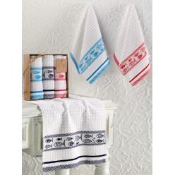 Кухонные полотенца махровые жаккард FISH 30x50 см 1/3