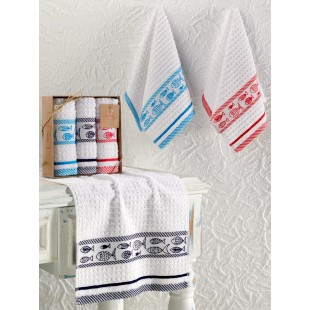 Кухонные полотенца махровые жаккард FISH 30x50 см 1/3 оптом
