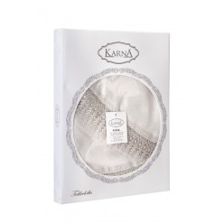 """Скатерть """"KARNA"""" KDK с гипюром круглая 160 Q см оптом"""